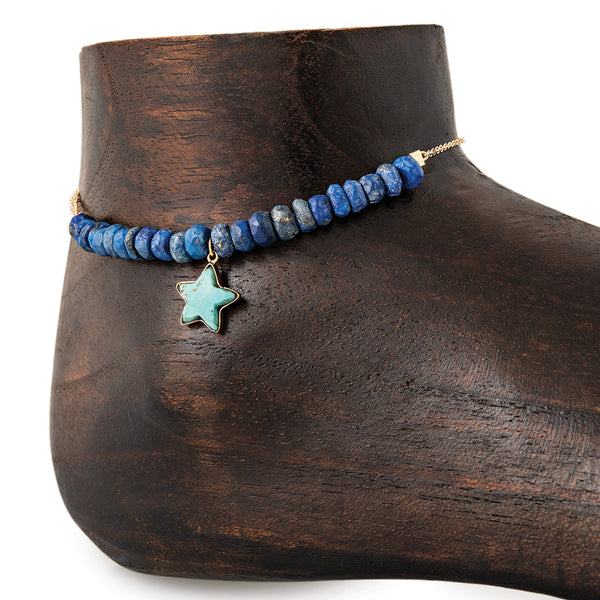MINI TURQUOISE STAR CHARM PARTIAL LAPIS BEADED ANKLET