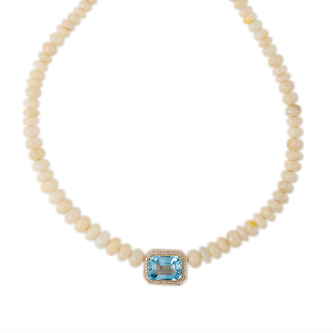 PAVE DIA PAVE BLUE TOPAZ CENTER GRADUATED SMOOTH OPAL BEADED NECKLACE