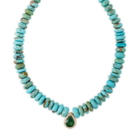 PAVE EMERALD TEARDROP CENTER TURQUOISE BEADED NECKLACE