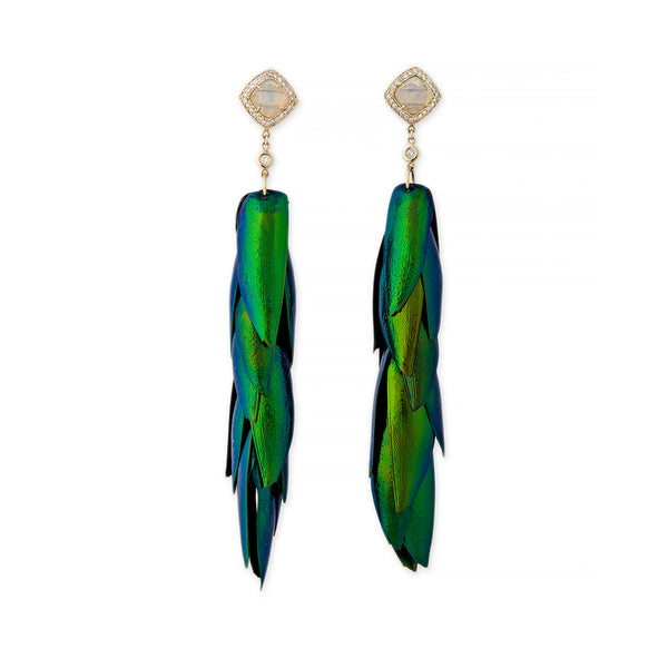 PAVE DIAMOND + OPAL STUD BEETLE WING EARRINGS
