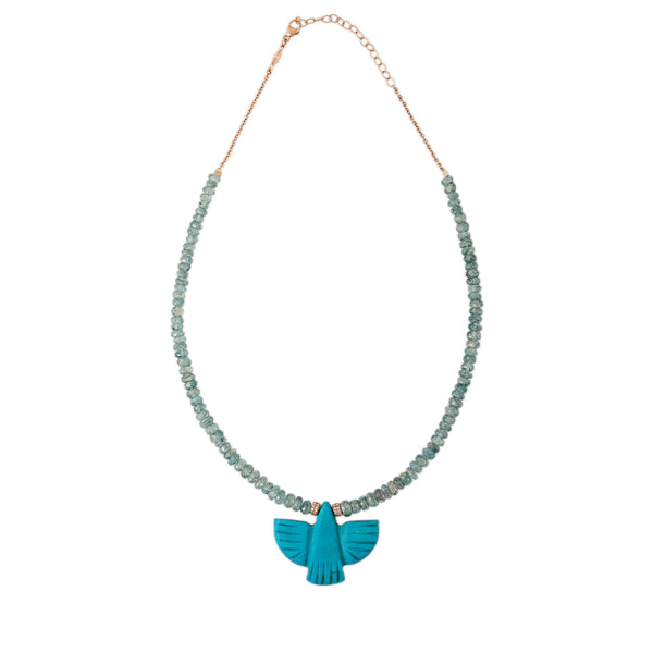 AQUAMARINE BEADED TURQUOISE THUNDERBIRD NECKLACE