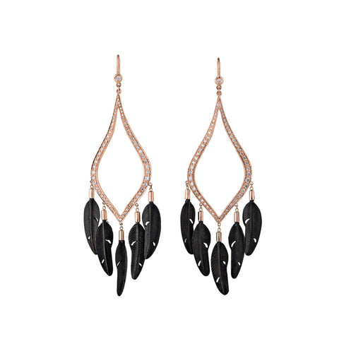 5 BLACK FEATHER PAVE MOROCCAN HOOPS