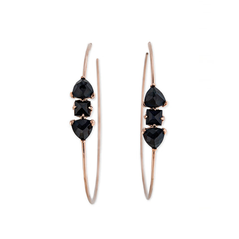 ONYX DOUBLE PYRAMID + BAGUETTE HOOPS