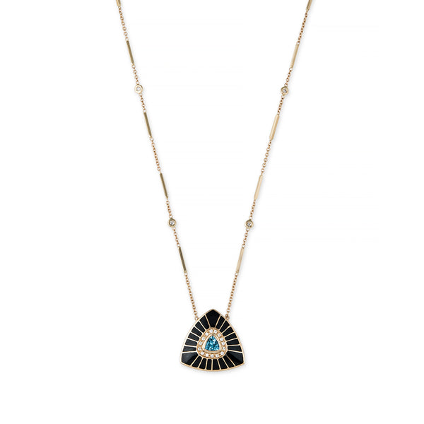 TRILLION BLUE TOPAZ BLACK INLAY VORTEX NECKLACE