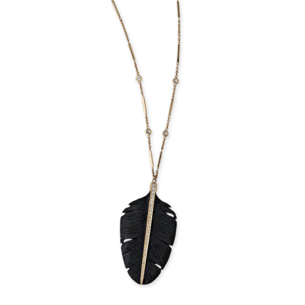 PAVE DIAMOND WIDE BLACK FEATHER NECKLACE