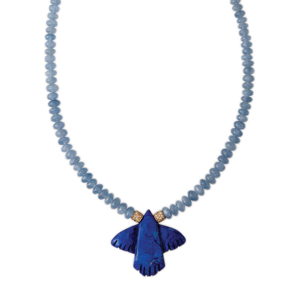 BLUE CALCITE BEADED LAPIS THUNDERBIRD NECKLACE