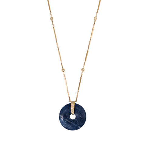 BLUE LAPIS DISC NECKLACE