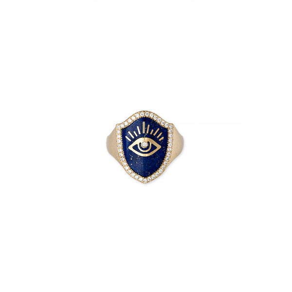LAPIS INLAY SHIELD EYE RING