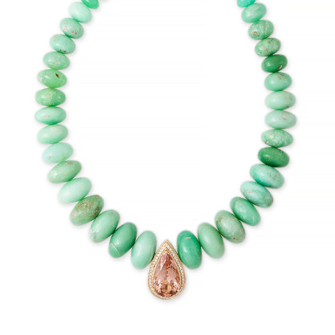 PAVE MORGANITE TEARDROP CENTER CHRYSOPRASE BEADED NECKLACE