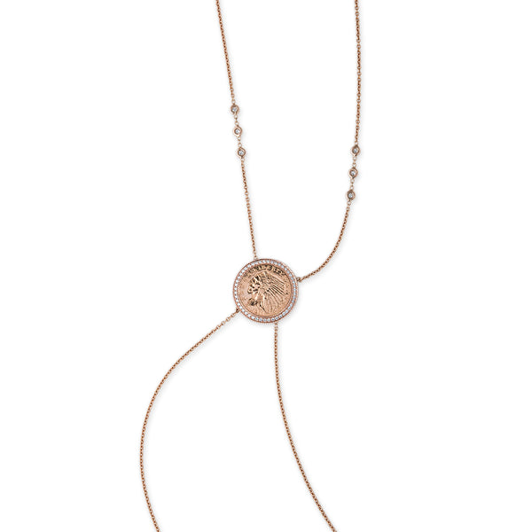 PAVE DIAMOND ANTIQUE COIN BODYCHAIN