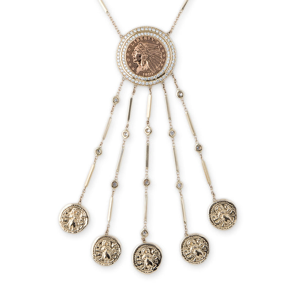PAVE COIN SHAKER ETERNAL LIFE NECKLACE