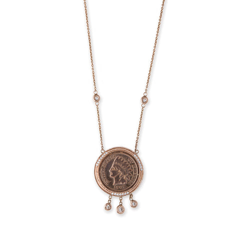 SMALL 3 ROUND DIAMOND SHAKER ANTIQUE COPPER COIN NECKLACE