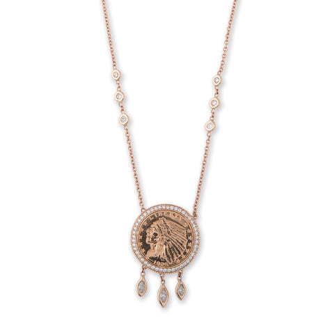 SMALL 3 MARQUISE DIAMOND SHAKER COIN NECKLACE