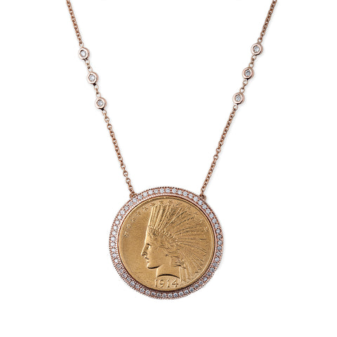LARGE PAVE DIAMOND COIN NECKLACE