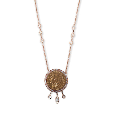 SMALL MARQUISE, ROUND DIAMOND SHAKER COIN NECKLACE