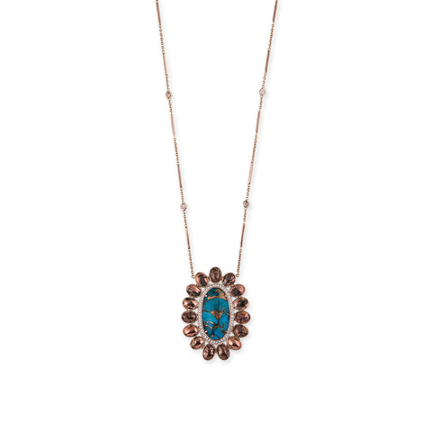 OVAL TURQUOISE COPPER MUFASA NECKLACE