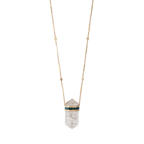CLEAR QUARTZ OPAL CAP CRYSTAL NECKLACE