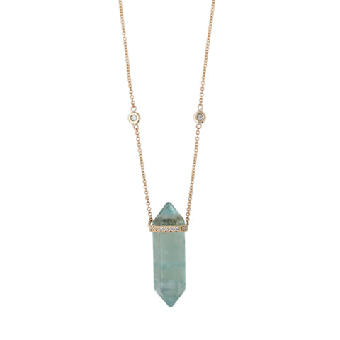 GREEN FLUORITE DOUBLE POINT CRYSTAL NECKLACE