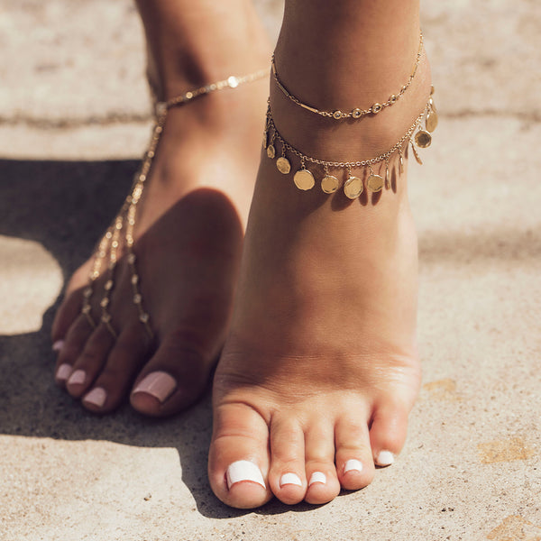 GRADUATED HAMMERED DISC SHAKER ANKLET