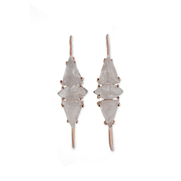 DOUBLE MOONSTONE TRIANGLE + MARQUISE HOOPS