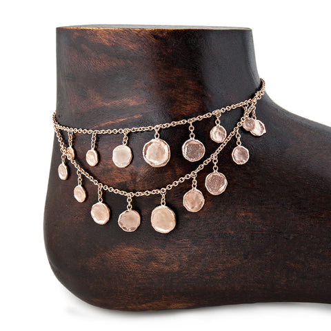 DOUBLE ROW HAMMERED Disc Anklet