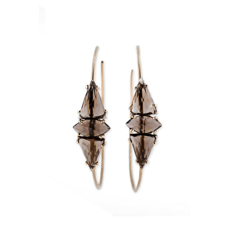 DOUBLE SMOKEY QUARTZ TRIANGLE + MARQUISE HOOPS