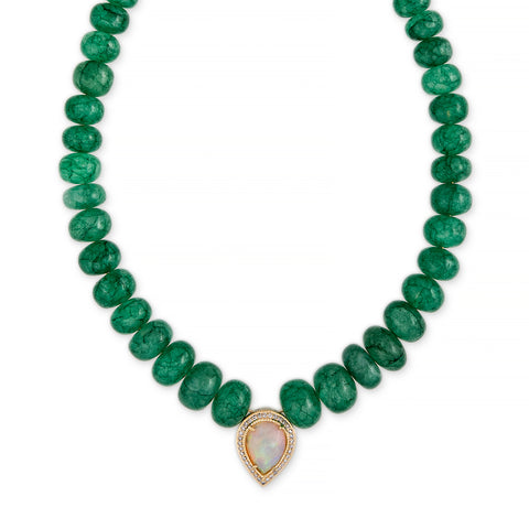 OPAL TEARDROP CENTER EMERALD BEADED NECKLACE