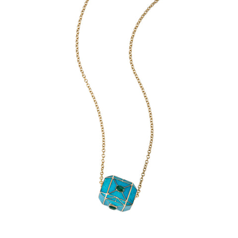 TURQUOISE INLAY EMERALD CENTER CUBE NECKLACE