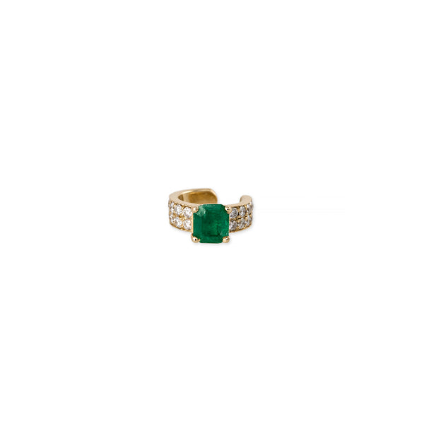 DOUBLE ROW PAVE EMERALD BAGUETTE EAR BAND