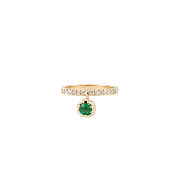 LARGE SOPHIA EMERALD DANGLE PAVE BAND RING
