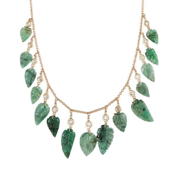 15 EMERALD LEAF AND DIAMOND DROP SHAKER NECKLACE
