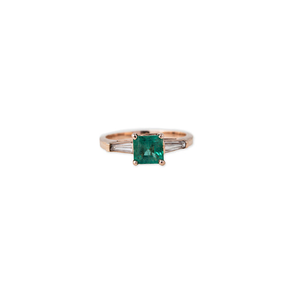 EMERALD + DIAMOND BAGUETTE RING