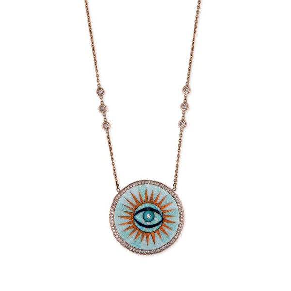 PAVE OPAL INLAY EYE SUN NECKLACE