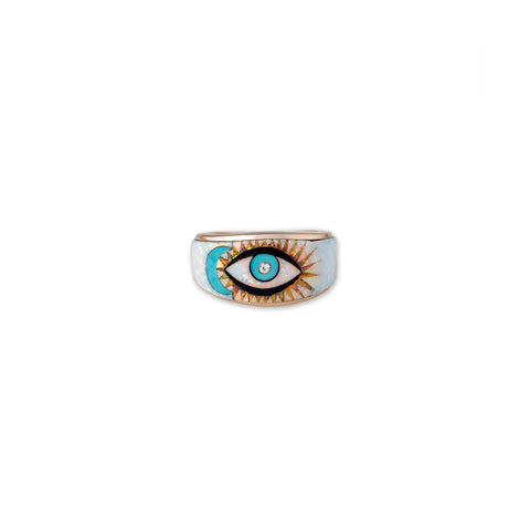 OPAL INLAY BLUE MOON + EYE RING