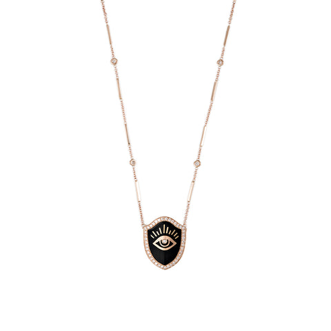 ONYX DIAMOND EYE SHIELD NECKLACE