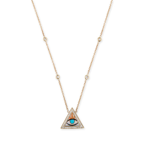 PAVE EYE TRIANGLE INLAY NECKLACE