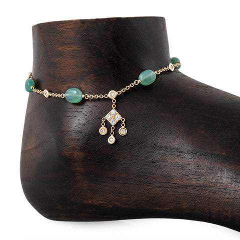 GREEN CALCITE BEAD DIAMOND KITE SHAKER ANKLET