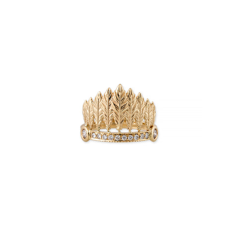 GRADUATED FEATHER CROWN RING