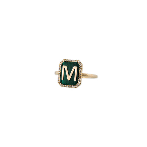 MALACHITE PAVE ALPHABET RING