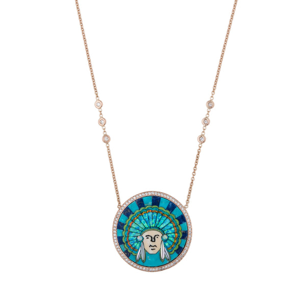 PAVE OPAL INLAY CHIEF NECKLACE