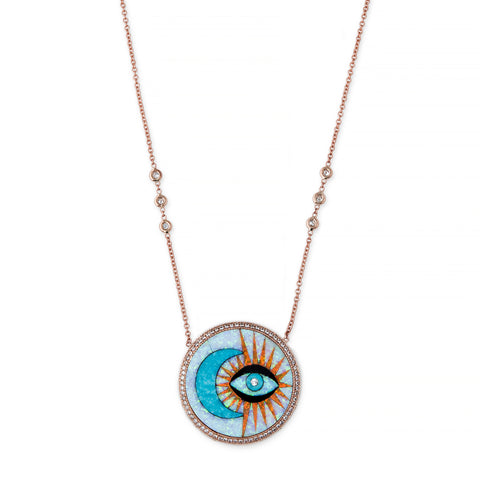 PAVE TURQUOISE MOON + OPAL EYE BURST INLAY NECKLACE