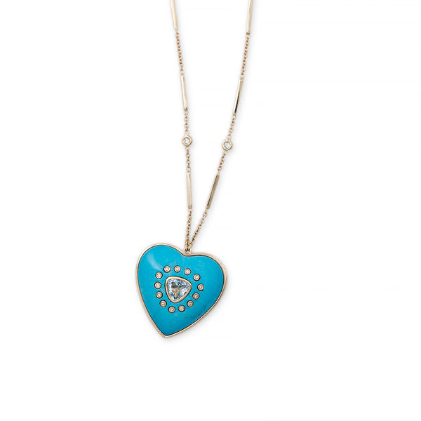 TURQUOISE HEART INLAY LOCKET NECKLACE