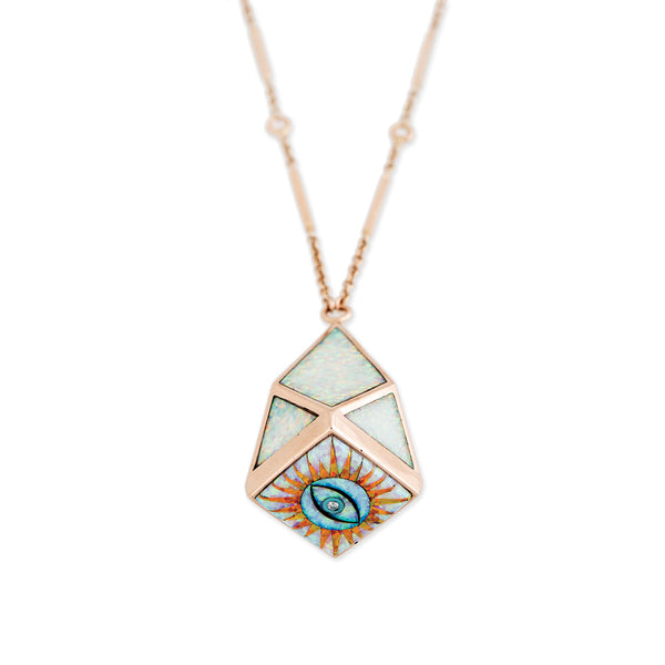 OPAL GEOMETRIC DOME EYE BURST BOTTOM INLAY NECKLACE