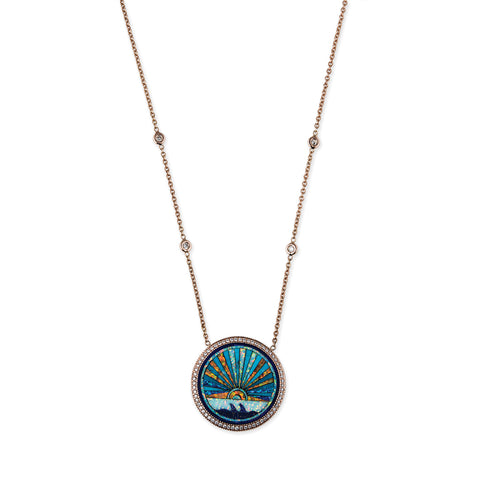 SMALL PAVE DIAMOND SUNSHINE INLAY NECKLACE