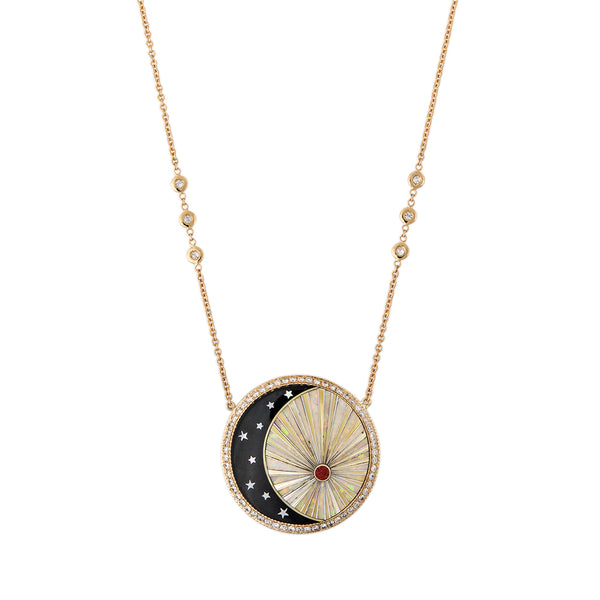 PAVE ROUND ONYX STAR CRESCENT + OPAL RAYS INLAY NECKLACE