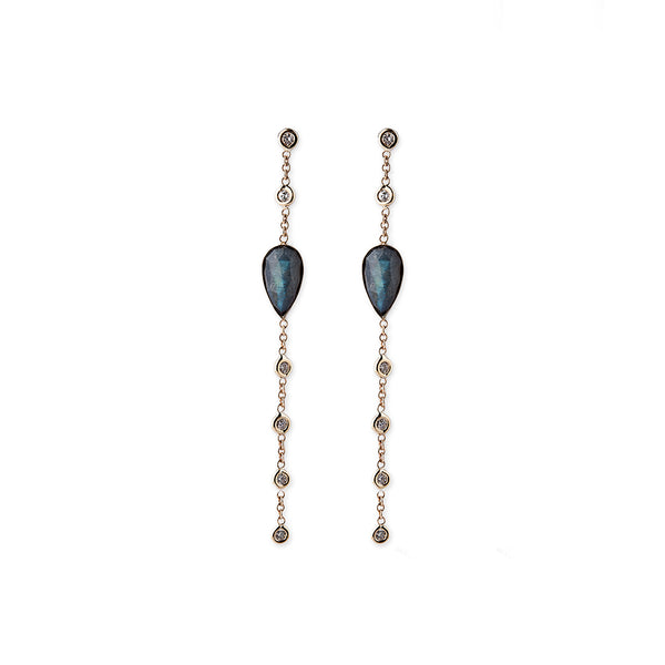 6 DIAMOND DROP LABRADORITE TEARDROP STUD EARRINGS