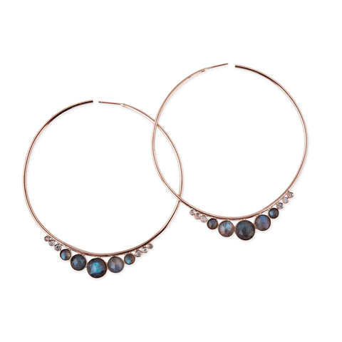 LABRADORITE + DIAMOND HOOPS