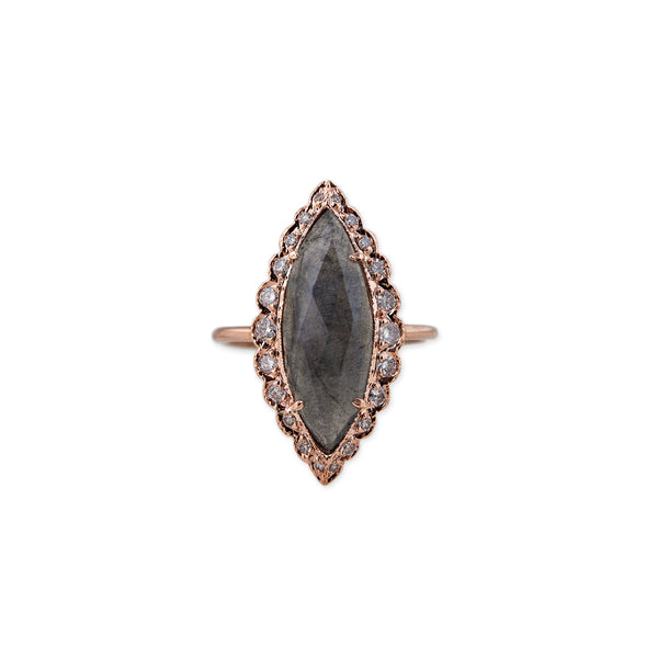 GRADUATED PAVE LABRADORITE MARQUISE RING