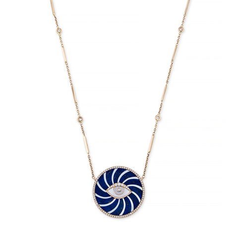 LARGE PAVE LAPIS + MOTHER OF PEARL SWIRL EYE NECKLACE