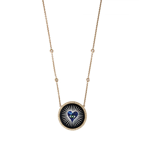SMALL PAVE ROUND ONYX INLAY LAPIS HEART BURST NECKLACE